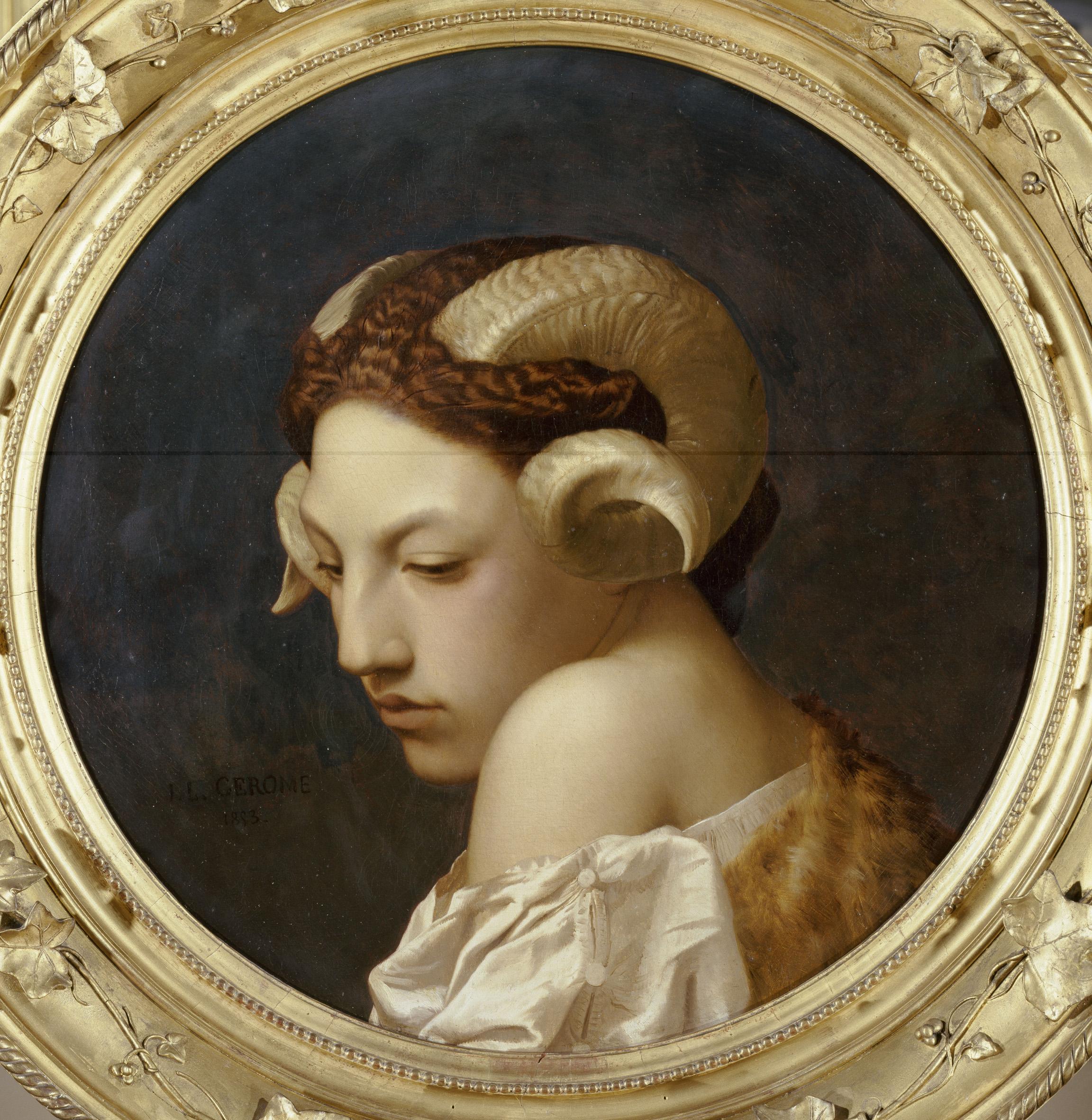 Jean-Léon Gérôme, Tête de femme coiffée de cornes de bélier , 1853, huile sur toile, Nantes, musée des Beaux-Arts. Photo © RMN-Grand Palais/Gérard Blot