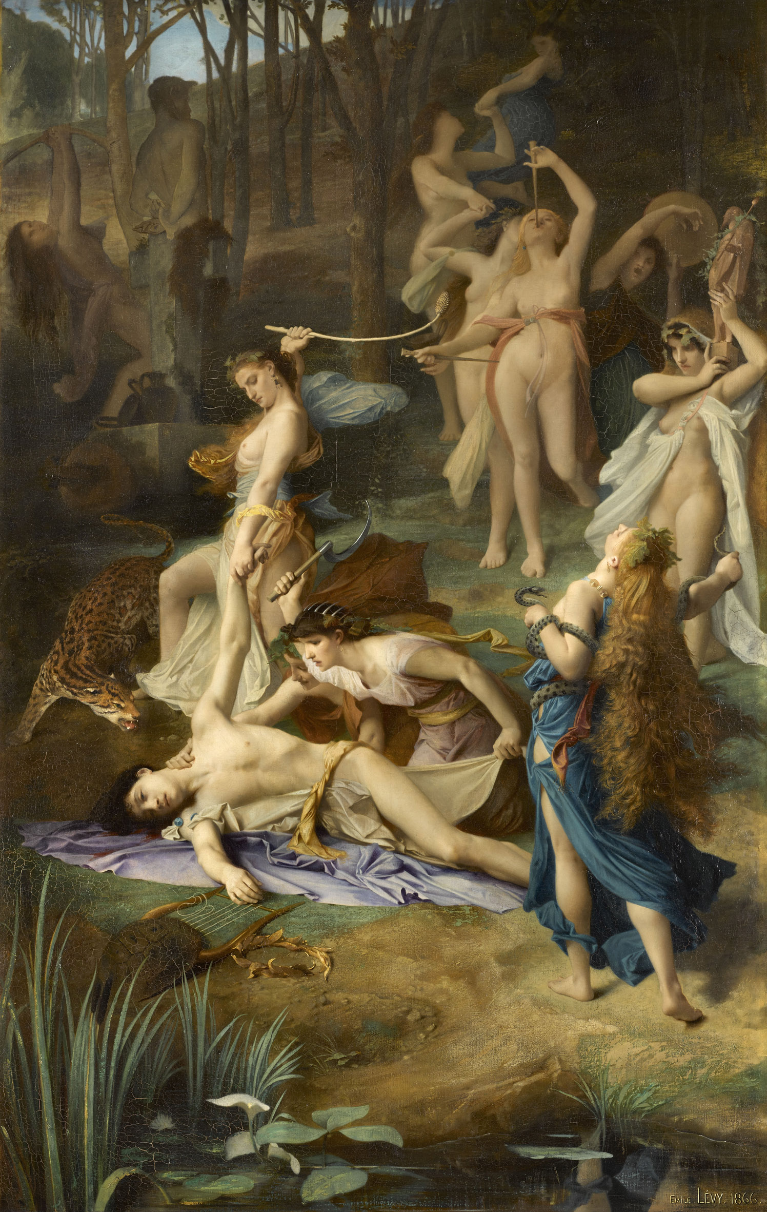 Émile Lévy, La Mort d'Orphée , 1866, huile sur toile, Paris, musée d'Orsay. Photo © RMN-Grand Palais (musée d'Orsay) / Stéphane Maréchalle