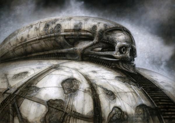 Dessin de H.R Giger (on peut clairement y voir l'influence à venir sur les visuels d'Alien et Prometheus de Ridley Scott)