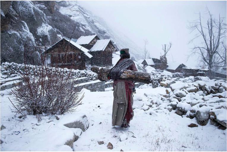 """Troisième place, catégorie """"gens"""" © Mattia Une vieille femme dans un village reculé de l'Himachal Pradesh, en Inde, portant une énorme bûche de bois pour réchauffer sa maison."""