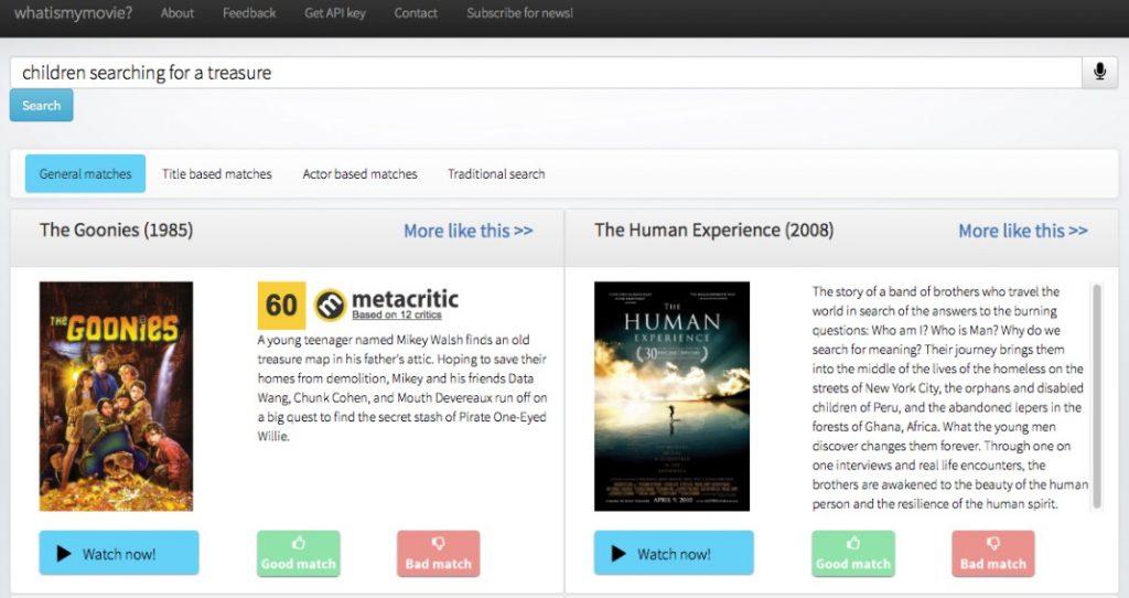 Capture d'écran sur Whatismymovie.com