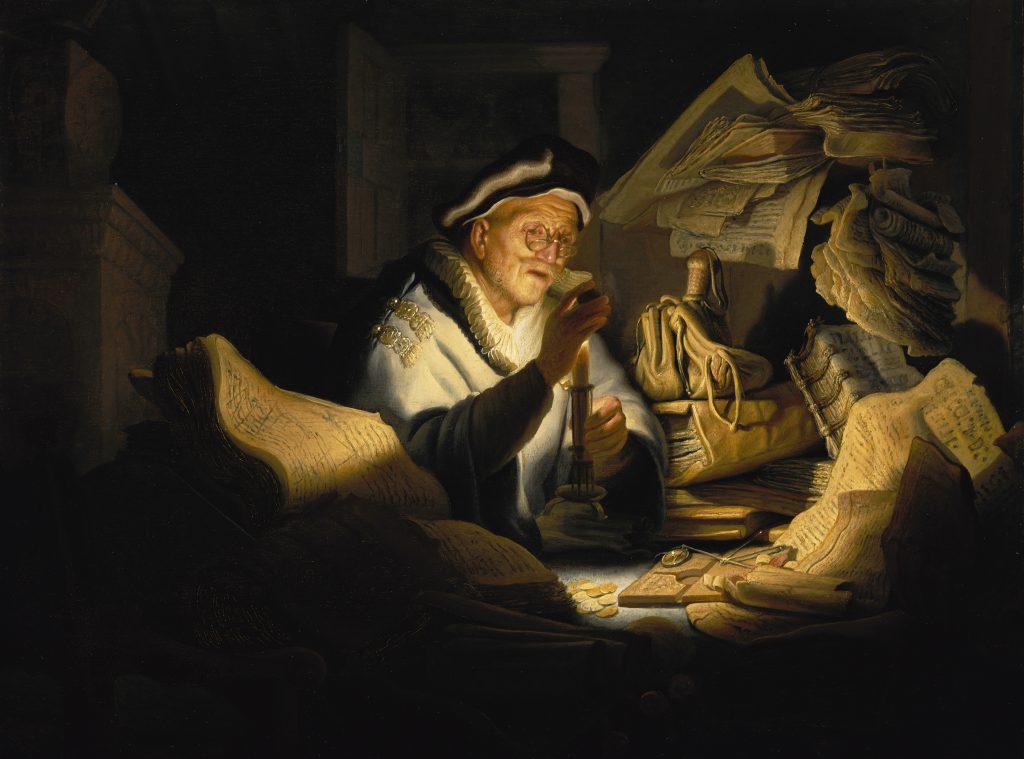 Gemälde / Öl auf Eichenholz (1627) von Rembrandt Harmensz van Rijn [15.7.1606 - 4.10.1669] Bildmaß 32,00 x 42,50 cm Inventar-Nr.: 828D Systematik: Kulturgeschichte / Geldwesen / Wechsler, Artist: Rembrandt Harmensz van Rijn