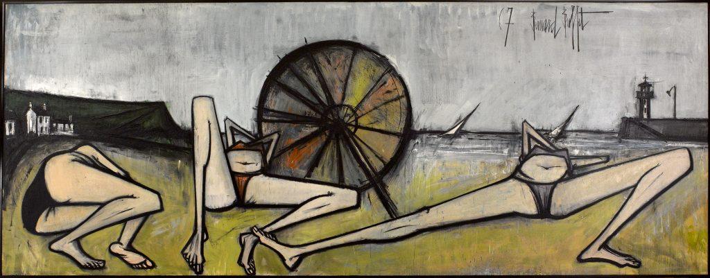 """Bernard Buffet (1928-1999). """"Les plages, le parasol"""", 1967. Paris, musée d'Art moderne. Dimensions: 200x524 cm"""