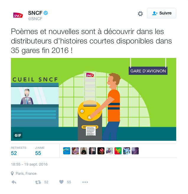 Capture d'écran - Twitter SNCF