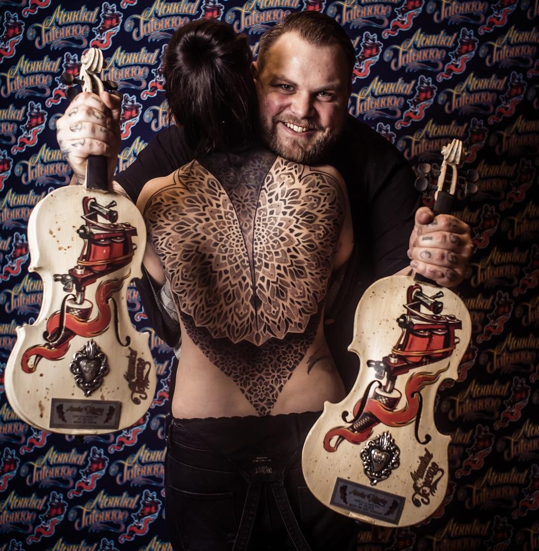 Jean-Pierre Mottin, gagnant du Prix du Meilleur Tatouage au Mondial 2016. Crédits photo : Anthony Dubois