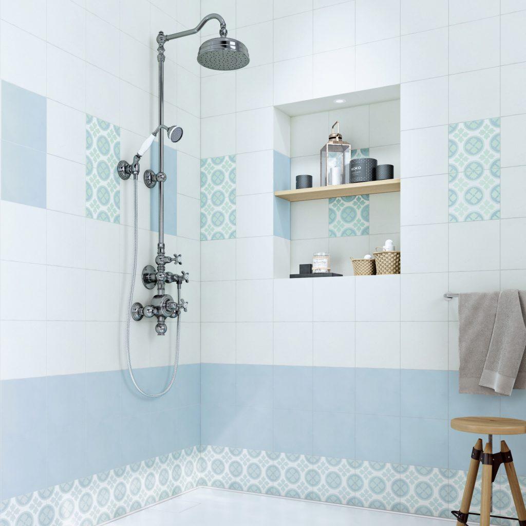 Carreau de ciment Belle époque décor alice bleu, vert et blanc, l.20 x L.20 cm 3.95 € / Unité // Leroy Merlin