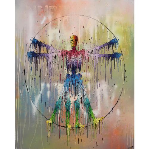 Acrylique sur toile - L'homme de Vitruve © BRUSK