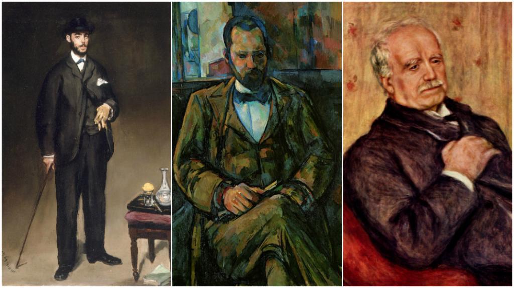 G : Théo Edouard Manet, The yorck project - C: Portrait d'Ambroise Vollard, Paul Cézanne, 1899, Musée de la ville des Beaux-Art de la Ville de Paris - D :