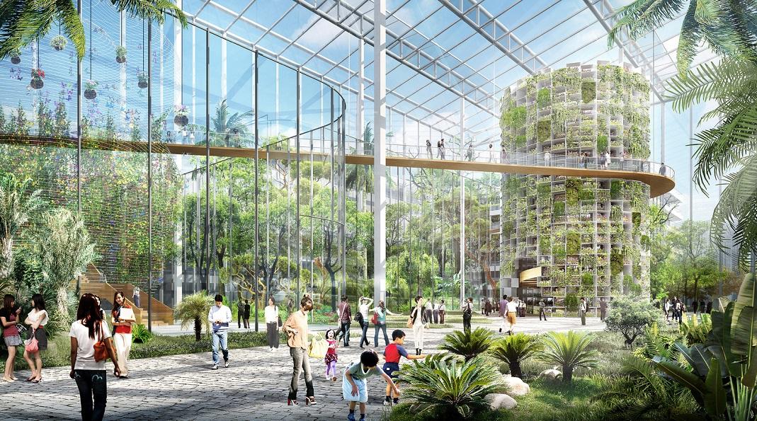 Le futur quartier Sunquiao, une serre de verdure aux allures de cité utopique ? Crédits visuels : Sasaki Associates