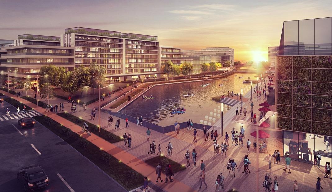Tout l'intérêt de ce nouveau quartier sera de mêler intelligemment production agricole, immeubles de bureaux et résidences. Crédits visuel : Sasaki Associates