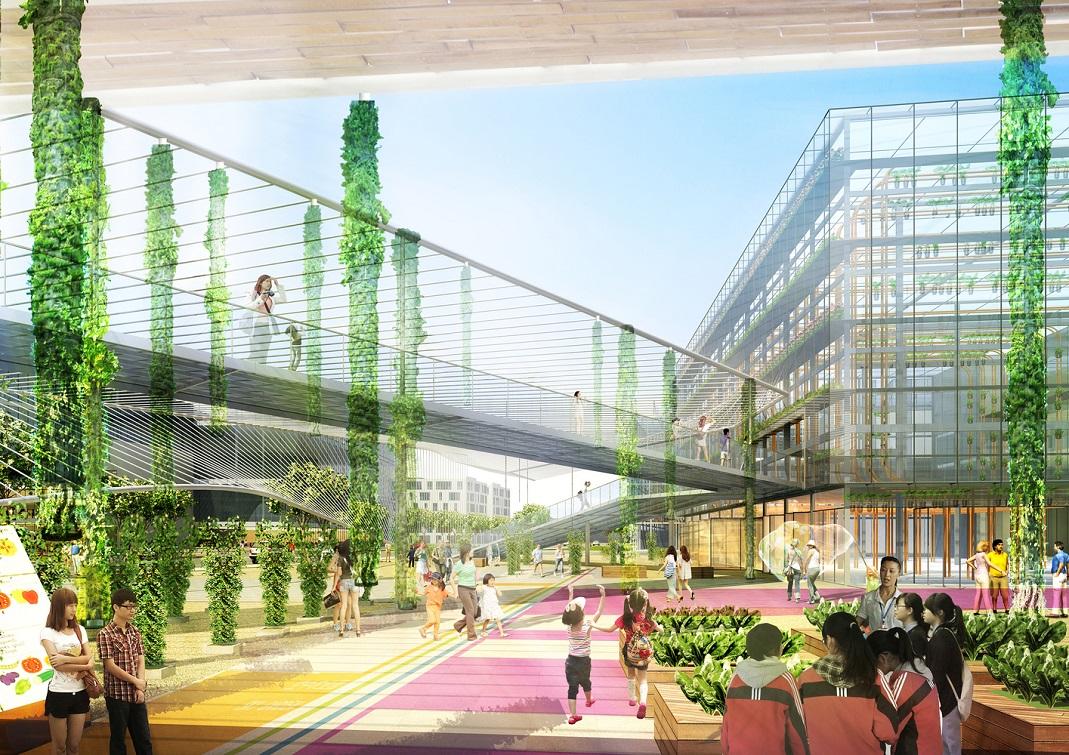 Sunquiao, plus qu'un haut lieu de l'agriculture urbaine, serait aussi un lieu de pédagogie pour le jeune public, et de promenade pour tous. Crédits visuel : Sasaki Associates